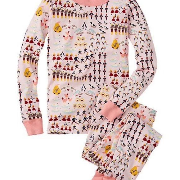 NWT Hanna Andersson Twelve Days of Christmas Girls Long John Pajamas PJs 2PC
